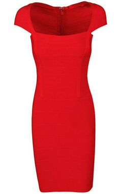 sexy, body-con fit, cup sleeve, knee length dress, back zipper Material- 90% rayon /9% nylon/ 1% spandex Color - Red Size - X-Small, Small, Medium, Large ( email us if size and color is not available)