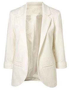 Sheinside® Damen Boyfriend-Blazer mit aufgekrempelten Ärmeln