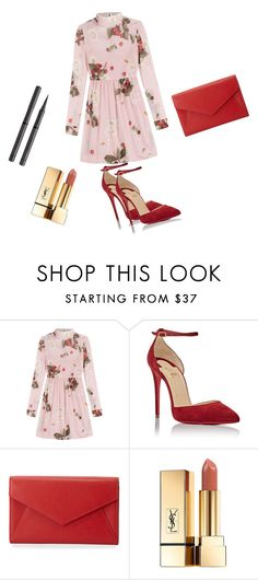"""Untitled #56"" by fatimaka on Polyvore featuring RED Valentino, Christian Louboutin, Neiman Marcus, Yves Saint Laurent and Burberry"