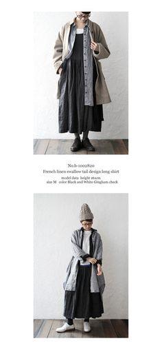 【送料無料】joiedevivreフレンチリネンギンガムチェックスワローテイルデザインロングシャツ