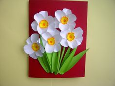 Ideas: Nice gifts for Mother's Day. flower cards (daffodils, na . Kindergarten Crafts, Preschool Crafts, Paper Flowers Diy, Flower Cards, Diy Flower, Diy And Crafts, Crafts For Kids, Make Up Art, Mothers Day Crafts