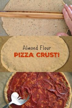 Gluten & grain free - Low carb - This recipe for Almond Flour Pizza Crust (grain free) is yummy, filling and very easy to make. It is so delicious that your family may not even know it was not made of wheat. Pizza Sans Gluten, Low Carb Pizza, Diet Pizza, Low Carb Recipes, Diet Recipes, Cooking Recipes, Pizza Recipes, Bread Recipes, Cooking Joy