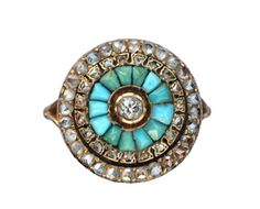 Late 1800s Rose Cut Diamond and Turquoise Cluster Ring, 18K : Erie Basin Antiques