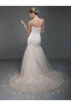 Strapless Tulle Mermaid Wedding Dress with Floral Embroidery 0113960 - Luxury Wedding Dresses - Wedding Dresses      http://www.honxuredress.com/wedding-dresses/luxury-wedding-dresses-18/strapless-tulle-mermaid-wedding-dress-with-floral-embroidery-0113960.html