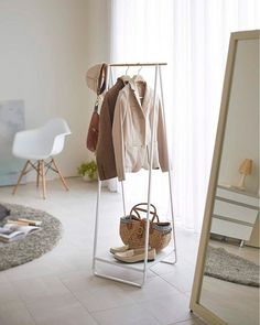 This slim, cleverly designed hanger rack by Yamazaki is the perfect way to increase storage space in any home. It can be used to hang coats and outerwear, or clothes that need to dry after a wash. Its stylish, simple design is incredibly easy to assemble.
