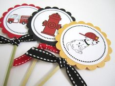 Firefighter Party Dalmatian, Fire Truck and Hydrant Centerpieces  | adorebynat - Seasonal on ArtFire