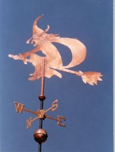 Witch Weather Vane Silhouette by West Coast Weather Vanes.  A single sheet of heavier gage copper is used to create these weathervane designs. The sculpture piece itself is flat with the emphasis being on the silhouette. They are best viewed against a clear sky background.  We normally do not make this weathervane sculpture piece larger than the medium size. The advantage is that it typically takes less time to make, so these are among our least expensive weathervane options.