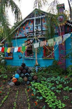 flags garden art house