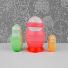 Neon Ninja Nesting Doll Babushka Matroyshka Russian by SketchInc, £19.00