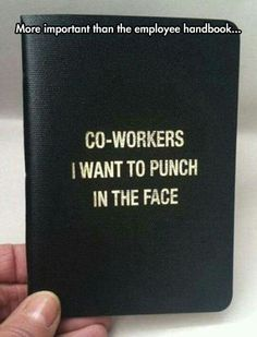 More impotant than the employee handbook: Co-workers I want to punch in the face Work Memes, Work Quotes, Work Humor, Work Funnies, Office Humour, Bag Quotes, Employee Handbook, Funny Quotes, Funny Memes