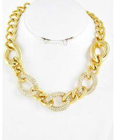 434331 Gold Tone Metal / Clear Rhinestone / Lead Compliant / Necklace