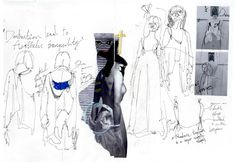 Fashion Sketchbook - fashion design development with fashion sketches, notes… Fashion Illustration Portfolio, Fashion Design Sketchbook, Fashion Design Portfolio, Fashion Sketches, Dress Sketches, Drawing Fashion, Sketchbook Inspiration, Layout Inspiration, Sketchbook Layout