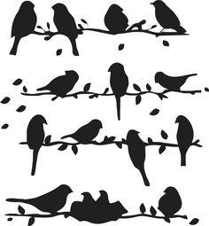 Adesivo decorativo pássaros no fio. Cartela 56x56cm