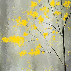 Abstract Painting - Yellow Foliage Impressionist by Lourry Legarde