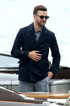 Justin Timberlake is seen on a boat to the 'Trolls' Photocall during the 69th Annual Cannes Film Festival on May 11 2016 in Cannes