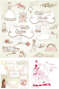 """3 Sets of vector decorative wedding design elements with vintage wedding invitation cards, bride illustrations and design elements for your wedding decorations. Format: EPS, Ai stock vector clip art and illustrations. Free for download. Set name: """"Decorative wedding design elements""""…"""