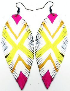 Neon White Orange Yellow and Pink Leather Feather X by Beatniq Pink Leather, Leather And Lace, All Things Beauty, Beauty Tips, Cake Face, Bullet Jewelry, Cute Earrings, Orange Yellow, Leather Jewelry