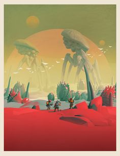 With a richly mesmerizing style of illustration reminiscent of science fiction's artful past, the work of Pascal Blanche brings character, color… Arte Sci Fi, Sci Fi Art, Fantasy Kunst, Fantasy Art, Sci Fi Kunst, Science Fiction Kunst, Bg Design, No Man's Sky, Space Fantasy