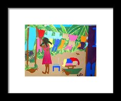 Folkart Framed Print featuring the painting Plenty Clothes Plenty Chickens by Kato Charles