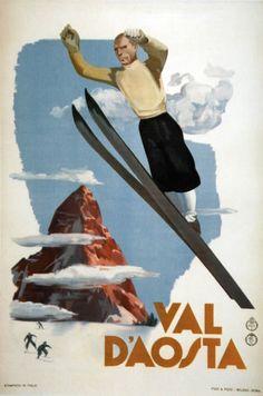 Vintage ski poster Val D'Aosta, Italy  1930s