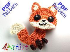 (4) Name: 'Crocheting : Fox Crochet Applique Pattern