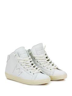 Leather Crown - Sneakers - Donna - Sneaker in pelle con zip su lato interno e suola in gomma. Tacco 50, platform 20 con battuta 30. - BIANCO