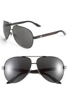 17cb1b5bc8 Gucci Metal Aviator Sunglasses - Mens Black Aviator Sunglasses