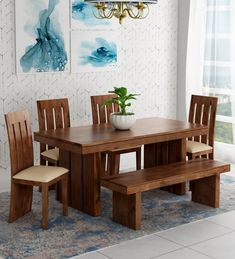 Buy Delmonte Solid Wood Six Seater Dining Set with Bench in Walnut Finish by Online - Contemporary 6 Seater Dining Sets - Dining - Furniture - Pepperfry Product Glass Dinning Table, Dinning Table Design, Dining Set With Bench, Dinning Room Tables, Dinning Set, Home Decor Furniture, Dining Furniture, Furniture Sale, Quality Furniture