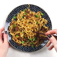 Sweet, salty, rich, and crunchy, these Pork and Peanut Dragon Noodles hit all the bases. It's fast, easy comfort food for busy nights! #easydinner #comfortfood #noodles #spicy #fastfood #takeoutfakeout