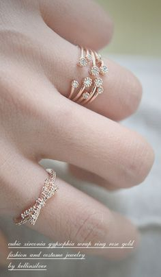Blossom CZ Rose Gold Wrap Ring from Kellinsilver.com