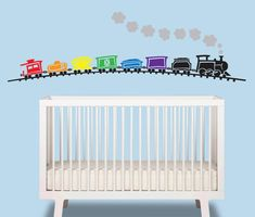 Train Baby Boy Wall Decal - Train over 6 ft wide - Nursery Wall Decal - Train Wall Art on Etsy, $47.50