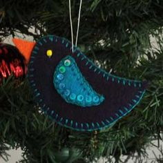 Blue Bird, Felt Christmas Tree Ornament