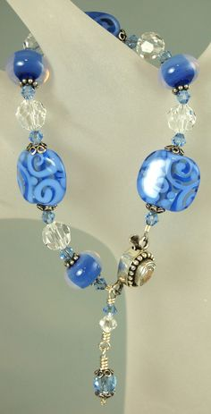 Blue Monday OOAK Artisan Lampwork, Sterling Silver and Crystal bracelet by celestialbeads, $60.00.