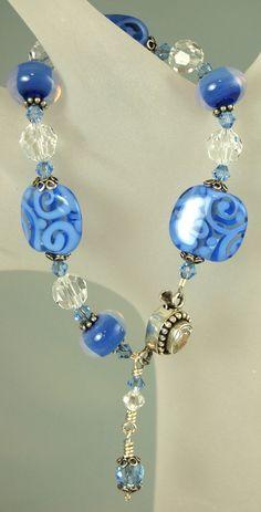 Blue Monday OOAK Artisan Lampwork, Sterling Silver and Crystal bracelet by celestialbeads, $60.00.