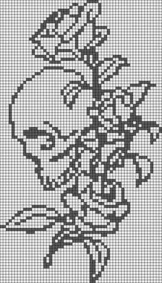 Alpha friendship bracelet pattern added by skull rose tattoo skullandrose. Cross Stitch Skull, Cross Stitch Bookmarks, Beaded Cross Stitch, Cross Stitch Rose, Cross Stitch Embroidery, Crochet Skull Patterns, Fair Isle Knitting Patterns, Beading Patterns, Pixel Art Halloween