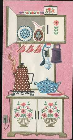 Greeting Card - Ready for Decoupage Vintage Greeting Cards, Vintage Postcards, Vintage Prints, Retro Vintage, Vintage Stove, Vintage Modern, Modern Retro, Decoupage, Images Vintage