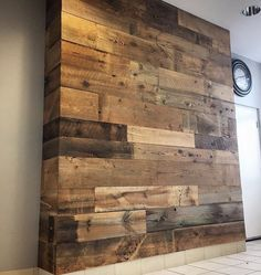 Reclaimed wood wall bumpout.
