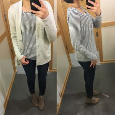 LOFT Cozy Cardigan (size S regular) & Striped Long Sleeve Cotton Tee (size SP regular). Review on www.whatjesswore.com.