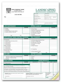 Free Printable Lawn Service Contract Form GENERIC