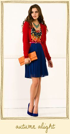 cute teacher outfit... This is my style - take a patterned shirt and pull 2 different colors out of it, one for a cardi and one for the skirt! Easy :)