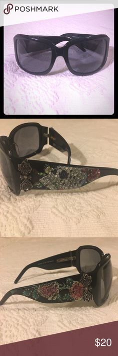 ✨Sale✨ED Hardy Rhinestone Skull Cross Sunglasses Authentic & Rare. These are missing some stones ( please see pics they are the description ) but can be replaced. Common for these glasses. You can buy them on eBay or at craft stores and glue them in. If your crafty this is a great deal! Or wear them as they are. There super cute. The lens look good. Overall lite wear to frames. Love these !!! No case. Ed Hardy Accessories Glasses