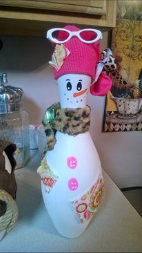 Decorated Bowling Pin...Blingy Snow Pin