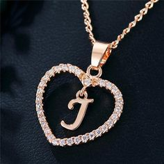 Romantic Love Pendant Necklace For Girls 2019 Women Rhinestone Initial Letter Necklace Alphabet Gold Collars Trendy New Charms Letter Pendant Necklace, Letter Pendants, Initial Pendant, Love Necklace, Simple Necklace, Necklace Types, Initial Necklace, Colar Fashion, Fashion Necklace