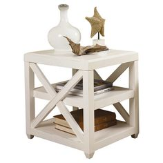 Distressed end table with openwork sides.   Product:  End table Construction Material: Wood      Color: