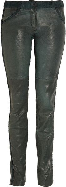 Isabel Marant Poe Suedetrimmed Stretchleather Skinny Pants - Lyst #LYST