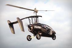 The Pal-V One is a three-wheeled gyroplane that 'drives like a sports car on the ground — with an 8-second 0-60 time and 112 mph top speed to prove it — but in just minutes, the single rotor, propeller, and rear wings extend, enabling the vehicle to take off and land in very tight spaces.'     Imagine how awesome this would be to bypass traffic