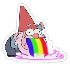 'Vomiting Gnome- Gravity Falls' Sticker by sarrrrah – Graffiti World Stickers Cool, Stickers Kawaii, Cartoon Stickers, Tumblr Stickers, Printable Stickers, Laptop Stickers, Gravity Falls Gnome, Desenhos Gravity Falls, Aesthetic Stickers