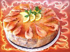 Pastela de pescado y gambas.  Receta marroquí.