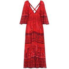 Valentino Printed Silk Dress (€5.505) ❤ liked on Polyvore featuring dresses, red, valentino dress, red dress, red silk dress and silk dress