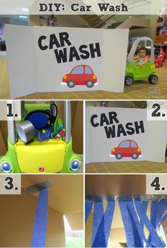 cardboard box car wash new car wash for kid s riding toys of cardboard box car wash Diy Car Wash, Wheel Tattoo, Prop Box, Kids Ride On Toys, Craft Activities For Kids, Childcare Activities, Preschool Projects, Kids Crafts, Camaro Car
